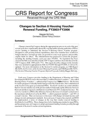 Changes to Section 8 Housing Voucher Renewal Funding, FY2003-FY2006