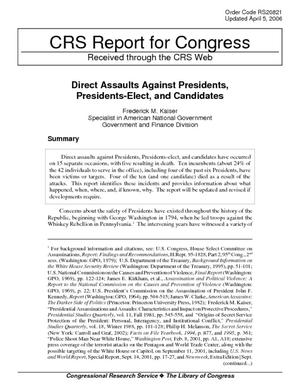 Direct Assaults Against Presidents, Presidents-Elect, and Candidates