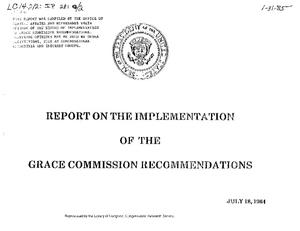 Report on the Implementation of the Grace Commission Recommendations