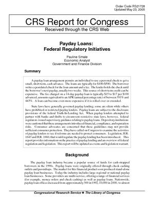 Payday Loans: Federal Regulatory Initiatives