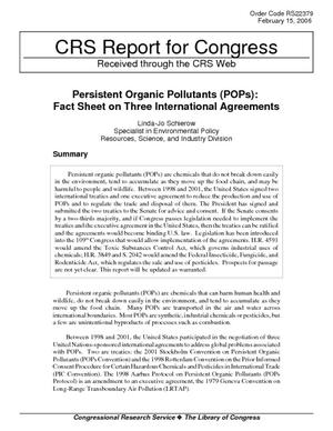 Persistant Organic Pollutants (POPs): Fact Sheet on Three International Agreements