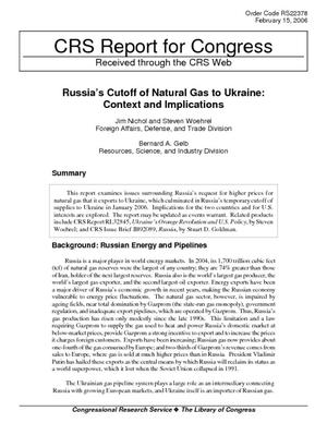 Russia's Cutoff of Natural Gas to Ukraine: Context and Implications