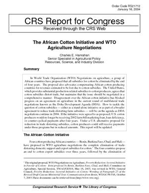 The African Cotton Initiative and WTO Agriculture Negotiations