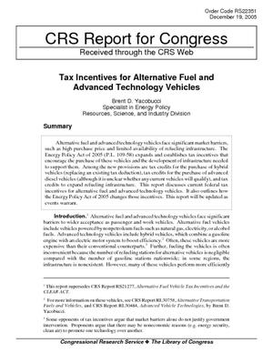 Tax Incentives for Alternative Fuel and Advanced Technology Vehicles