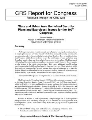 State and Urban Area Homeland Security Plans and Exercises: Issues for the 109th Congress