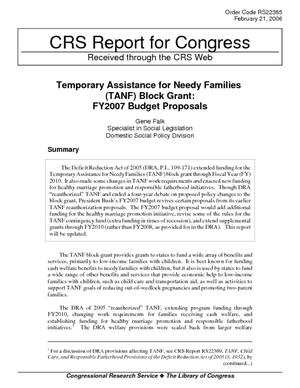 Temporary Assistance for Needy Families (TANF) Block Grant: FY2007 Budget Proposals