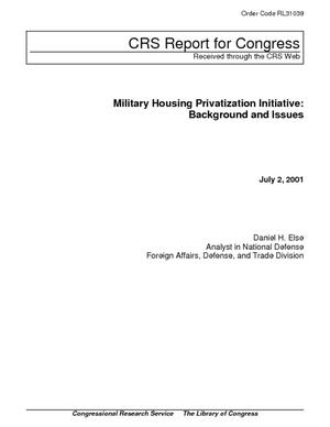 Military Housing Privatization Initiative: Background and Issues