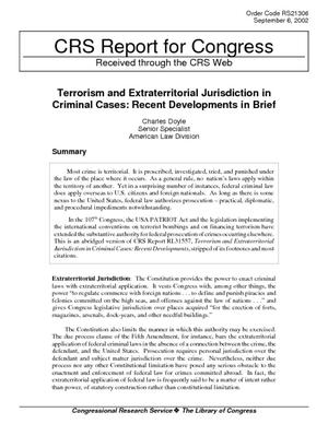 Terrorism and Extraterritorial Jurisdiction in Criminal Cases: Recent Developments in Brief