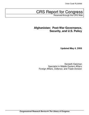 Afghanistan: Post-War Governance, Security, and U.S. Policy