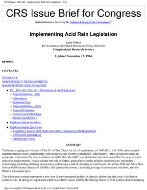 Implementing Acid Rain Legislation