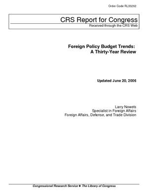 Foreign Policy Budget Trends: A Thirty-Year Review