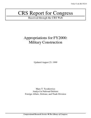 Appropriations for FY2000: Military Construction