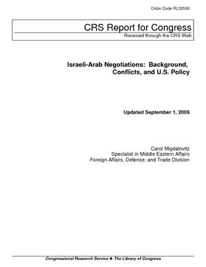 Israeli-Arab Negotiations: Background, Conflict, and U.S. Policy