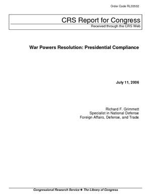 War Powers Resolution: Presidential Compliance