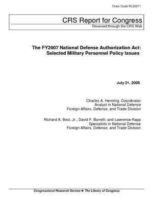 The FY2007 National Defense Authorization Act: Selected Military Personnel Policy Issues