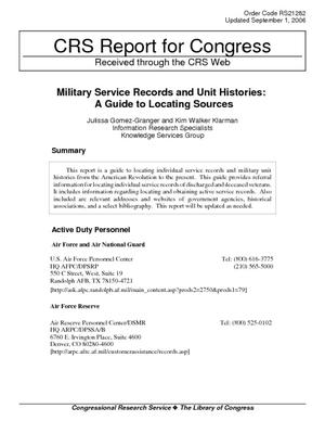 Military Service Records and Unit Histories: A Guide to Locating Sources