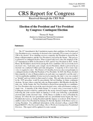 Election of the President and Vice President by Congress: Contingent Election