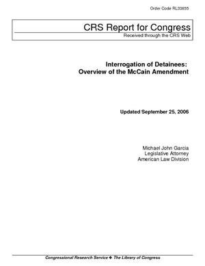 Interrogation of Detainees: Overview of the McCain Amendment