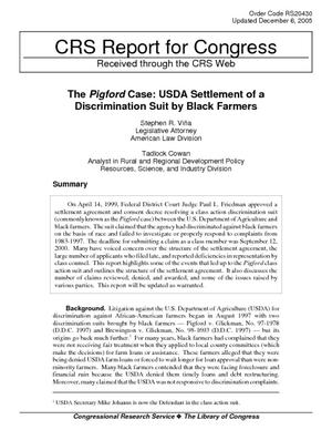 The Pigford Case: USDA Settlement of a Discrimination Suit by Black Farmers