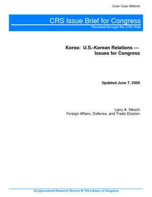 Korea:  U.S.-Korean Relations--Issues for Congress
