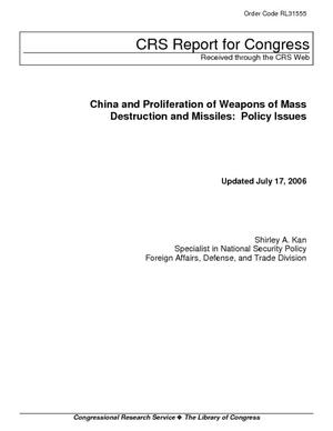 China and Proliferation of Weapons of Mass Destruction and Missiles: Policy Issues