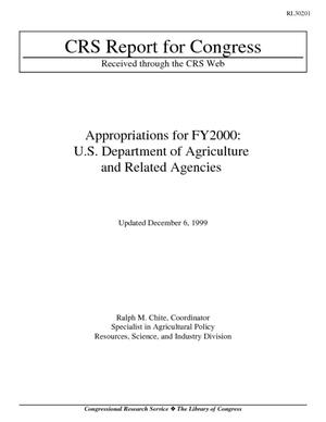 Appropriations for FY2000: U.S. Department of Agriculture and Related Agencies