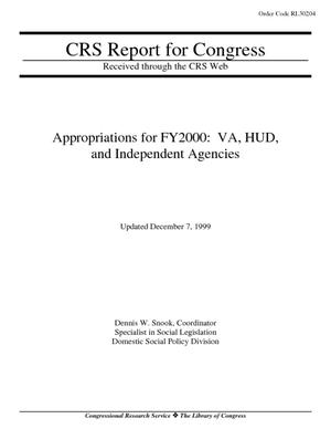 Appropriations for FY2000: VA, HUD, and Independent Agencies