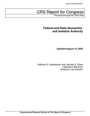 Federal and State Quarantine and Isolation Authority