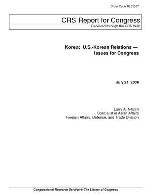 Korea: U.S.-Korean Relations - Issues for Congress