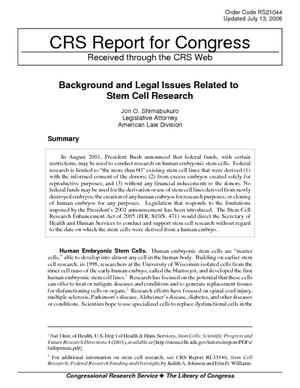 Background and Legal Issues Related to Stem Cell Research