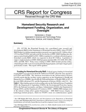 Homeland Security Research and Development Funding, Organization, and Oversight