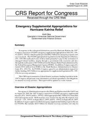 Emergency Supplemental Appropriations for Hurricane Katrina Relief