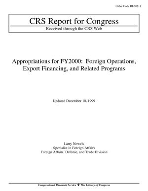 Appropriations for FY2000: Foreign Operations, Export Financing, and Related Programs