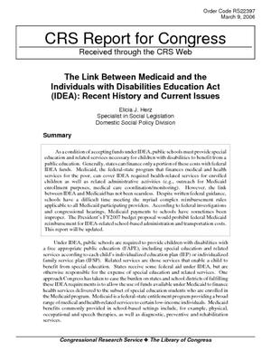 The Link Between Medicaid and the Individuals with Disabilities Education Act (IDEA): Recent History and Current Issues