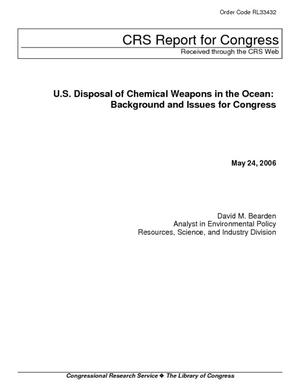 U.S. Disposal of Chemical Weapons in the Ocean: Background and Issues for Congress