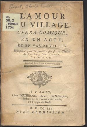 Primary view of object titled 'Amour au village : opera-comique, en un acte, et en vaudeviles'.