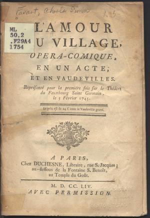 Primary view of Amour au village : opera-comique, en un acte, et en vaudeviles