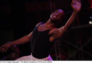 Primary view of object titled '[Dancer performs in Aretha: The Musical]'.