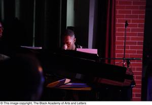 Primary view of object titled '[Pianist on stage]'.
