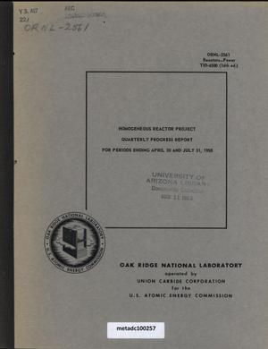Primary view of object titled 'Homogeneous Reactor Project Quarterly Progress Report: February-July 1958'.