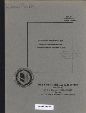 Primary view of object titled 'Homogeneous Reactor Project Quarterly Progress Report: August-October 1958'.