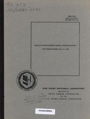 Primary view of object titled 'Health Physics Division Annual Progress Report, July 31, 1958'.
