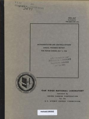 Primary view of object titled 'Instrumentation and Controls Division Annual Progress Report, July 1, 1958'.