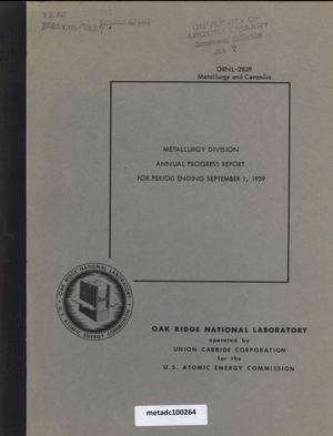 Primary view of object titled 'Metallurgy Division Annual Progress Report, September 1, 1959'.