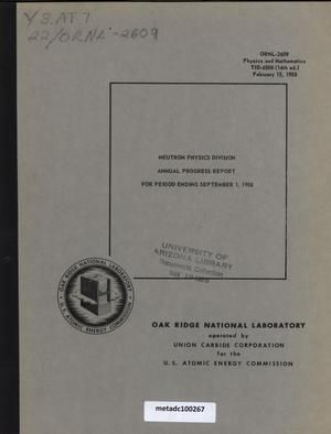 Primary view of object titled 'Neutron Physics Division Annual Progress Report, September 1, 1958'.