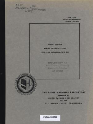 Primary view of object titled 'Physics Division Annual Progress Report, March 10, 1959'.