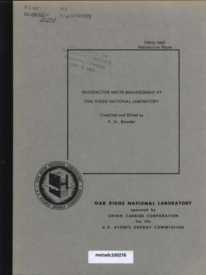 Primary view of object titled 'Radioactive Waste Management at Oak Ridge National Laboratory'.