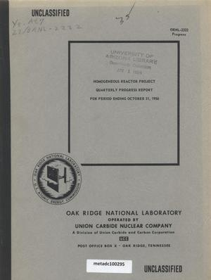 Primary view of object titled 'Homogeneous Reactor Project Quarterly Progress Report: August-October 1956'.