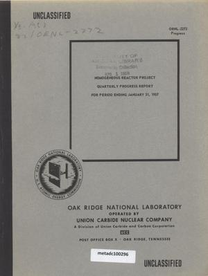 Primary view of object titled 'Homogeneous Reactor Project Quarterly Progress Report: November 1956-January 1957'.