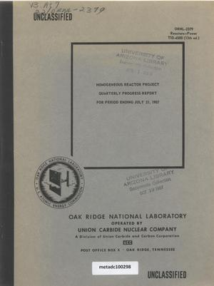 Primary view of object titled 'Homogeneous Reactor Project Quarterly Progress Report: May-July 1957'.